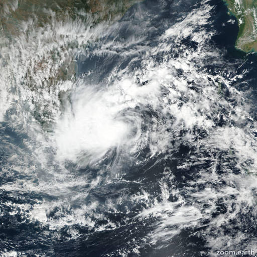 Satellite image of Cyclone Nada 2016