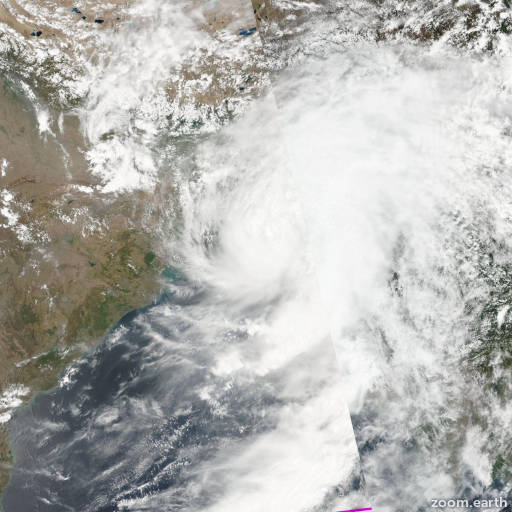 Satellite image of Cyclone Roanu 2016