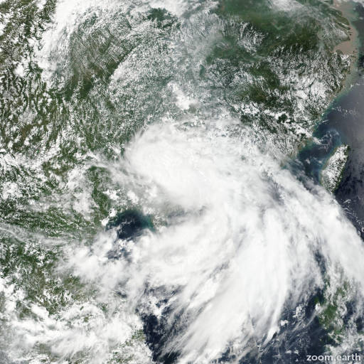 Satellite image of Storm Pakhar 2017