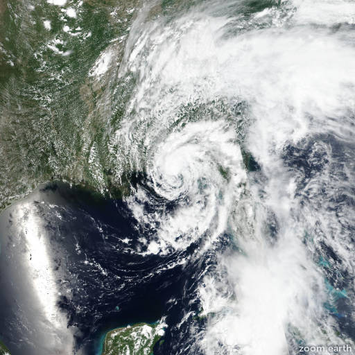 Satellite image of Storm Alberto 2018