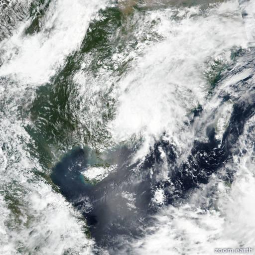 Satellite image of Storm Ewiniar 2018