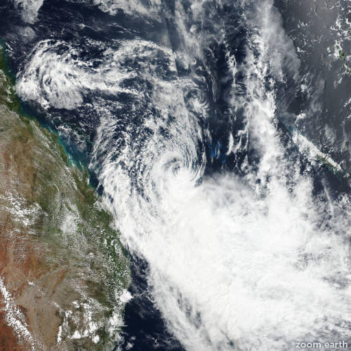 Satellite image of Cyclone Linda 2018