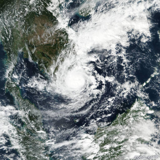 Satellite image of Storm Usagi 2018