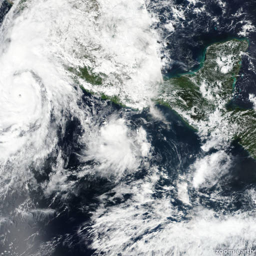 Satellite image of Storm Vicente 2018