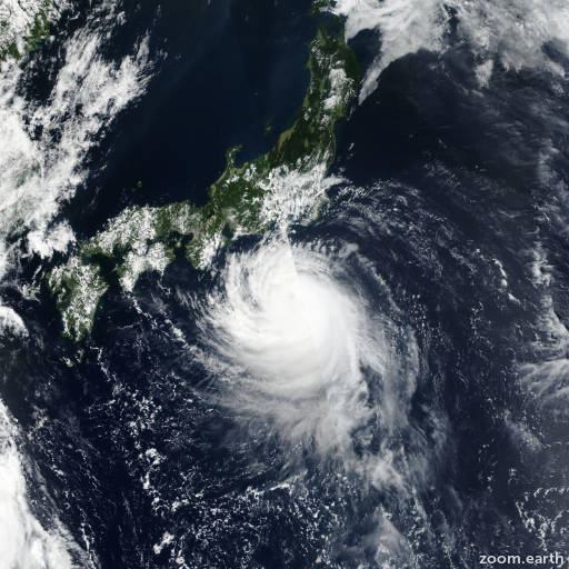 Satellite image of Typhoon Faxai 2019