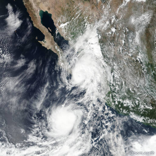 Satellite image of Hurricane Lorena 2019