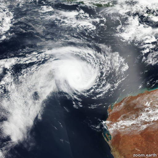 Satellite image of Cyclone Riley 2019